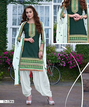EMBROIDERED GREEN AND WHITE PATIYALA STYLE SALWAR KAMEEZ @ Rs1482.00