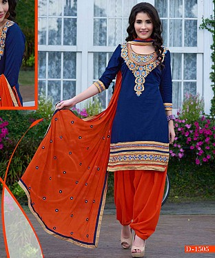 EMBROIDERED NAVY AND ORANGE PATIYALA STYLE SALWAR KAMEEZ @ Rs1482.00