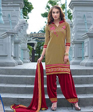 EMBROIDERED OLIVE AND MAROON PATIYALA STYLE SALWAR KAMEEZ @ Rs1482.00