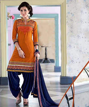 EMBROIDERED YELLOW AND BLUE PATIYALA STYLE SALWAR KAMEEZ @ Rs1482.00