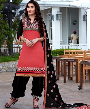 EMBROIDERED PINK AND BLACK PATIYALA STYLE SALWAR KAMEEZ @ Rs1482.00