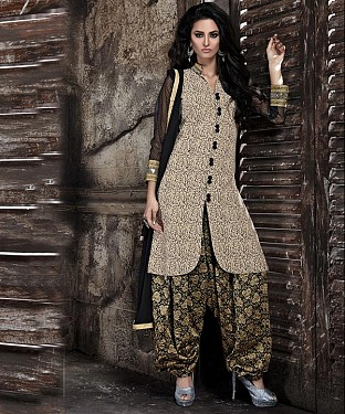 EMBROIDERED BEIGE AND BLACK PATIYALA STYLE SALWAR KAMEEZ @ Rs1915.00