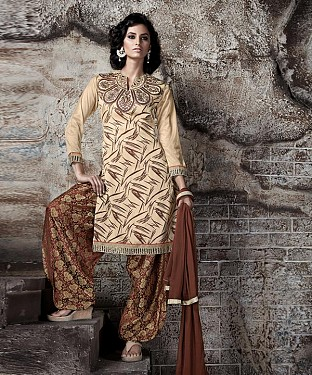 EMBROIDERED CREAM AND BROWN PATIYALA STYLE SALWAR KAMEEZ@ Rs.1915.00