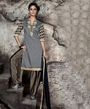 EMBROIDERED GREY AND BLACK PATIYALA STYLE SALWAR KAMEEZ @ Rs1915.00