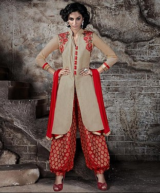 EMBROIDERED CREAM AND RED PATIYALA STYLE SALWAR KAMEEZ @ Rs1915.00