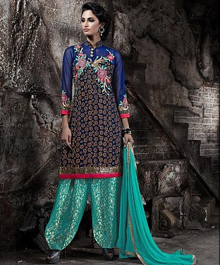EMBROIDERED BLUE AND AQUA PATIYALA STYLE SALWAR KAMEEZ @ Rs1915.00