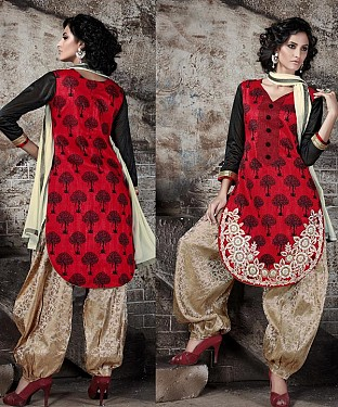EMBROIDERED RED AND CREAM PATIYALA STYLE SALWAR KAMEEZ@ Rs.1915.00