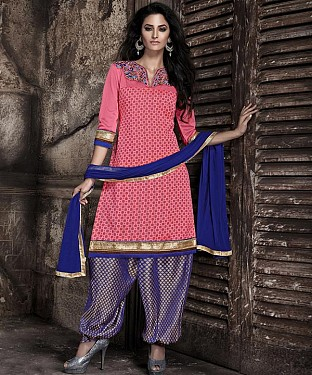EMBROIDERED PINK AND BLUE PATIYALA STYLE SALWAR KAMEEZ @ Rs1915.00