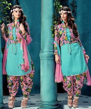 EMBROIDERED SKY BHAGALPURI SILK PATIYALA@ Rs.1359.00