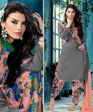 EMBROIDERED GREY BHAGALPURI SILK PATIYALA @ Rs1359.00
