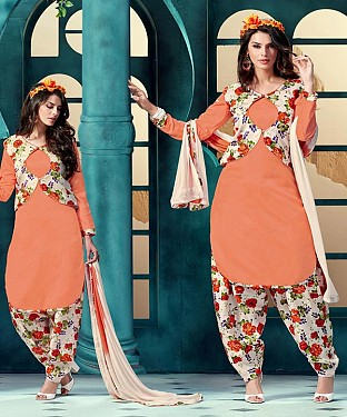 EMBROIDERED ORANGE BHAGALPURI SILK PATIYALA @ Rs1359.00