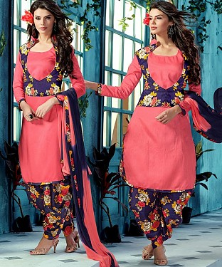 EMBROIDERED PINK BHAGALPURI SILK PATIYALA @ Rs1359.00