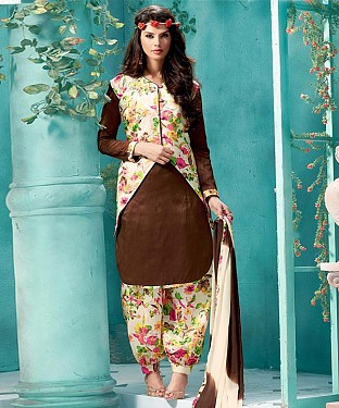 EMBROIDERED BROWN BHAGALPURI SILK PATIYALA @ Rs1359.00