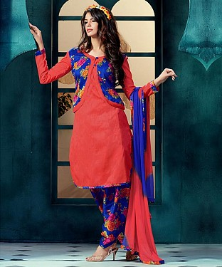 EMBROIDERED PEACH BHAGALPURI SILK PATIYALA @ Rs1359.00