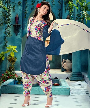 EMBROIDERED NAVY BHAGALPURI SILK PATIYALA @ Rs1359.00