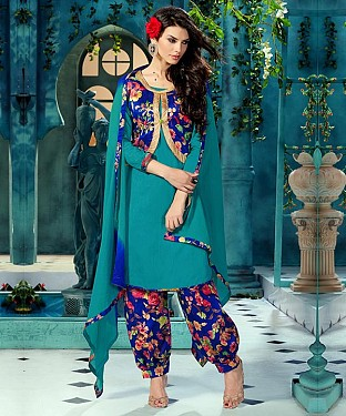 EMBROIDERED SKY BHAGALPURI SILK PATIYALA @ Rs1359.00