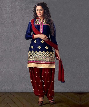 EMBROIDERED NAVY BLUE PATIYALA STYLE SALWAR KAMEEZ @ Rs1359.00