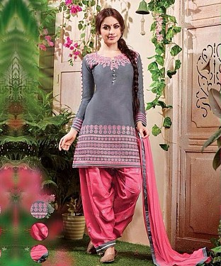 EMBROIDERED GREY PATIYALA STYLE SALWAR KAMEEZ @ Rs1359.00
