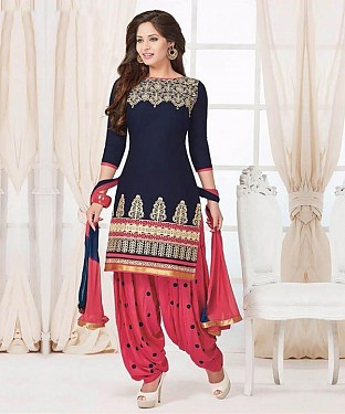 EMBROIDERED BLUE PATIYALA STYLE SALWAR KAMEEZ @ Rs1235.00