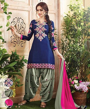 EMBROIDERED NAVY BLUE AND GREY PATIYALA STYLE SALWAR KAMEEZ @ Rs1235.00
