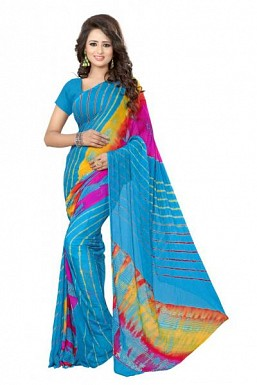 New Sky Blue Printed Heavy Nazneen Casual Saree@ Rs.988.00