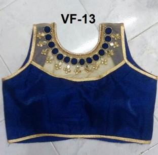 Panchi Blue Banglori Silk Embroidered Stitched Blouse@ Rs.607.00