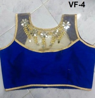 Panchi Blue Banglori Silk Embroidered Stitched Blouse@ Rs.605.00
