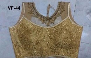 Panchi Golden Banglori Silk Embroidered Stitched Blouse@ Rs.829.00