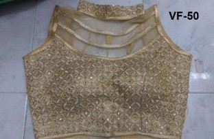 Panchi Golden Banglori Silk Embroidered Stitched Blouse@ Rs.674.00