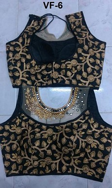 Panchi Black Banglori Silk Embroidered Stitched Blouse@ Rs.829.00