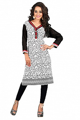 White and Black Printed Cotton Kurti @ Rs407.00