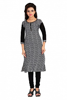 Black Printed Formal Cotton Kurti @ Rs370.00