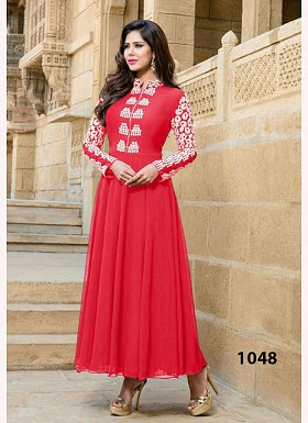 Pink Georgette Long Anarkali Suit@ Rs.742.00