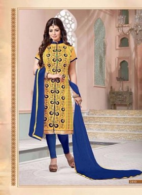 vandv Yellow & Blue Cotton Designer Dress Material @ Rs934.00