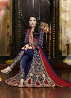 vandv Dark Blue & Maroon Georgette Designer Anarkali Suit @ Rs1742.00