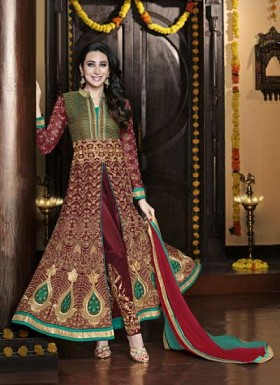 vandv Teal Green & Maroon Georgette Designer Anarkali Suit @ Rs1742.00