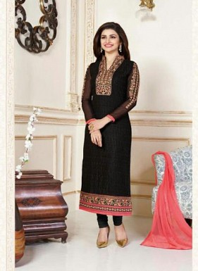 Black & Peach Georgette Designer Dress Material Buy Rs.1668.00