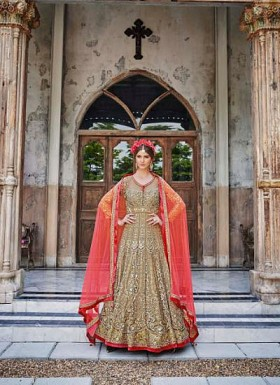 New Beige & Orange Soft Net Designer Anarkali Suit @ Rs4387.00
