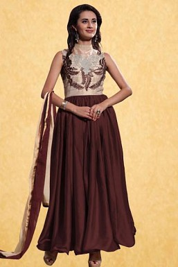 New Brown Georgette Embroidered Designer Anarkali Suit @ Rs2000.00