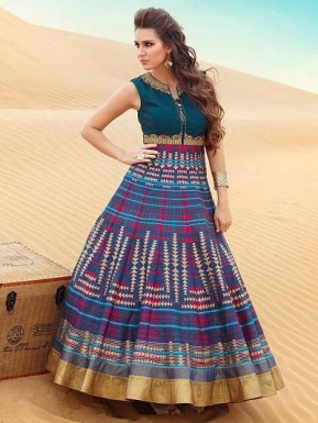 Latest Blue Pure Bhagalpuri Designer Anarkali Suit @ Rs3005.00