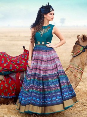 New Teal Green Pure Bhagalpuri Designer Anarkali Suit @ Rs3769.00