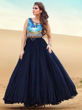 Latest Dark Blue Net Designer Anarkali Suit @ Rs4256.00