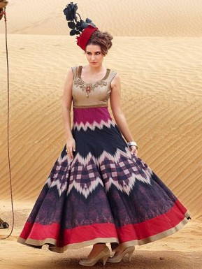 New Cream & Purple Pure Bhagalpuri Designer Anarkali Suit @ Rs2966.00