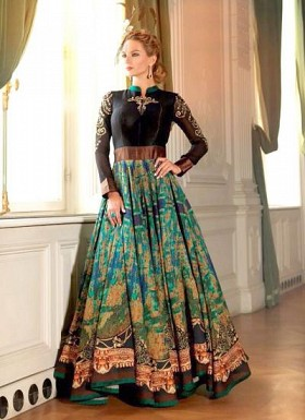 New Black & Green Bhagalpuri Designer Gown@ Rs.3021.00