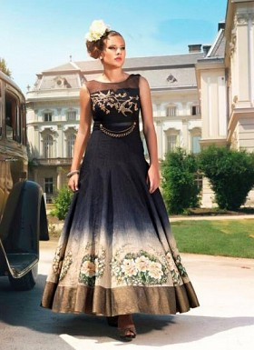 New Black Banglori Print Designer Long Gown @ Rs3287.00