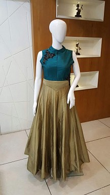 New Teal Green & Copper Taffeta Silk Designer Gown @ Rs1689.00
