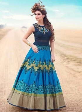 New Sky & Dark Blue Banglori Silk Designer Gown @ Rs3376.00