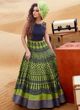 New Dark Blue & Green Banglori Silk Designer Gown @ Rs3199.00