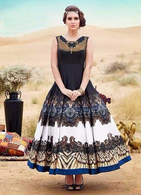 New Black & White Banglori Silk Designer Gown@ Rs.3287.00
