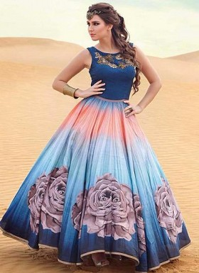 New Blue & Sky Shaded Banglori Silk With Satin Designer Gown @ Rs2843.00